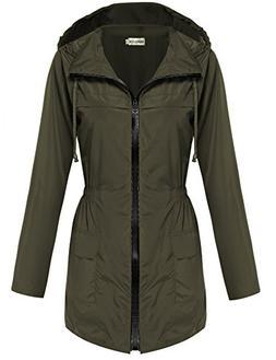 Hotouch Women Raincoat Parka Fishtail Festival Hooded Jacket