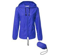 Hount Fashion Woman Front-Zip Lightweight Rain Jacket Waterp