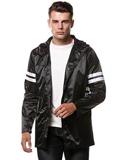 Hount Men Lightweight Hooded Long Sleeve Zip-up Waterproof R