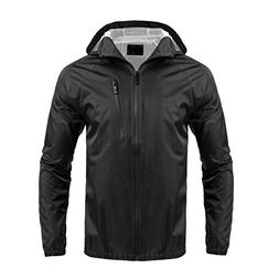 Hount Men's Outdoor Rain Coat Waterproof Zipper Hooded Rainc