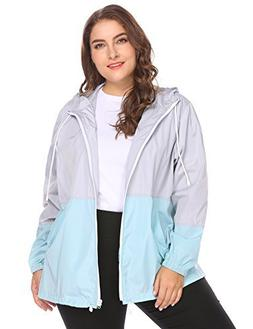 IN'VOLAND Women's Plus Size Rain Jacket Anoraks Lightweight