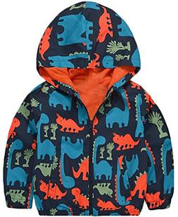 KISBINI Boy's Cartoon Dinosaur Print Zip Jacket Hooded Outdo