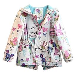 Kids Baby Toddler Girls Spring Fall Cartoon Trench Coat Wind