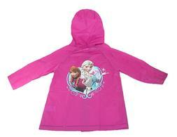 Kids Girl's Frozen Pink Hooded Rain Coat Jacket Waterproof Y