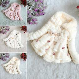 Kids Girls Baby Toddler Faux Fur Fleece Coat Winter Warm Jac