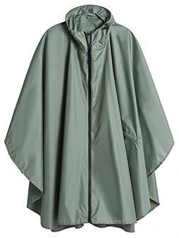 LINENLUX SiYang Rain Poncho Jacket Coat for Adults Hooded Wa