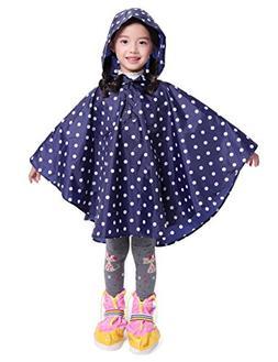 LOHASCASA Girl's Rain Poncho Jacket Coat Overall Reusable Du