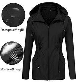 LOMON Raincoat Women Waterproof with Hood Lightweight Packab