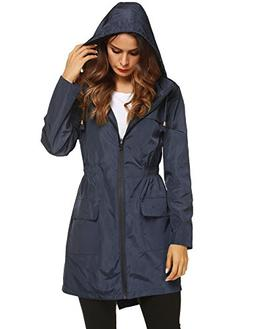 LOMON Women Lightweight Waterproof Hooded Raincoat Solid Win