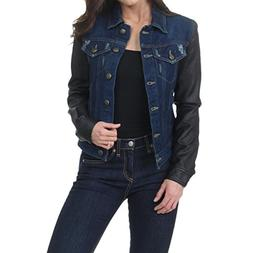 Laundry by Shelli Segal Womens Faux Leather Sleeves Denim Ja