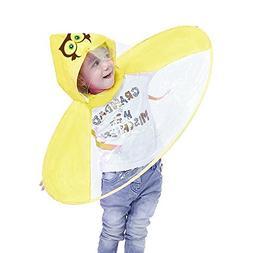 LtrottedJ Raincoat, Foldable Cute Animal Rain Coat UFO Child