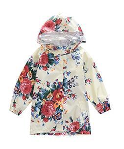 M2C Girls Floral Patterned Hooded Waterproof Raincoat 10/12