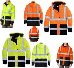 MEN'S CLASS 3, REFLECTIVE SAFETY RAIN COAT, WATERPROOF, HIDE