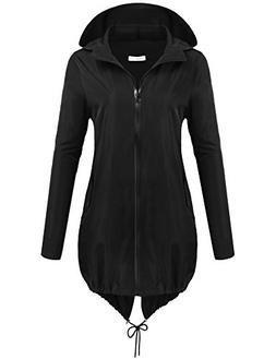 Macr&Steve Womens Waterproof Jacket Lightweight Outdoor Hood