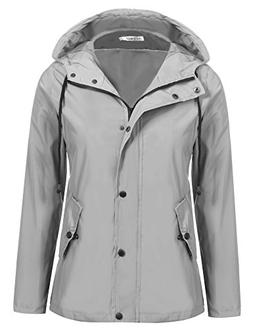 Meaneor Women's Packable Raincoat Lightweighted Waterproof W