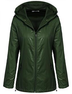 Meaneor Women's Zip Up Outdoor Raincoat Hooded Softshell Wat