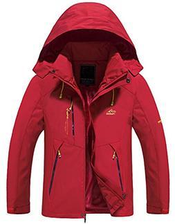 Mens Waterproof Jacket, Outdoor Hooded Lightweight Softshell