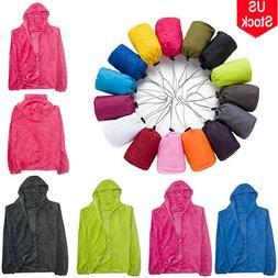 Mens Womens Zip Hooded Windbreaker Jackets Rain Coats Outdoo