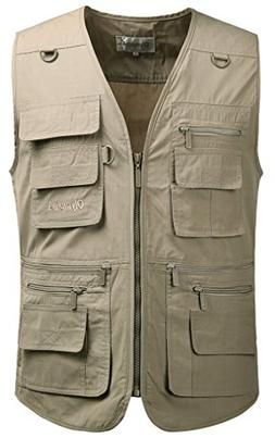Mrignt Men's Travels Sports Jacket Coat Vest,Khaki)