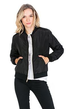 My Yuccie Womens Classic Quilted Zip Up Bomber Jacket