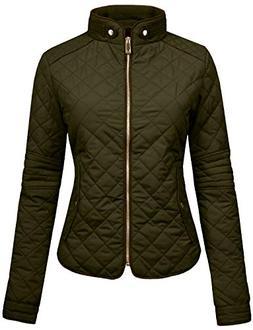 NE PEOPLE Womens Lightweight Quilted Zip Jacket, NEWJ22-OLIV