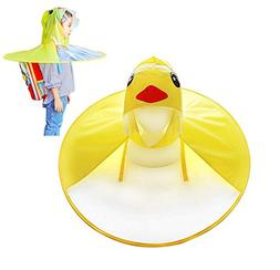 OUTDOORZONE Cartoon Yellow Duck UFO Raincoat Children Rainco