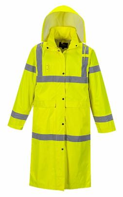 "PORTWEST HI-VIS CLASSIC RAIN COAT 48"" 190T SIZES S-6X UH445"