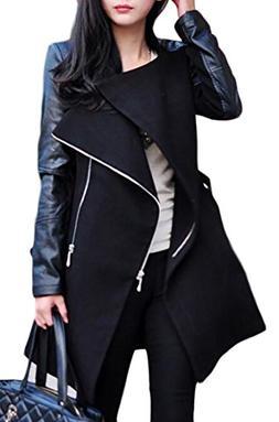 Papijam Womens Lapel Zip Faux Leather Splice Outwear Jacket