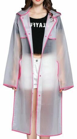 QZUnique Women's Hooded Lightweight EVA Raincoat Waterproof