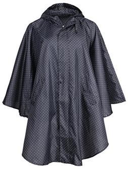 QZUnique Women's Waterproof Packable Rain Jacket Batwing-Sle