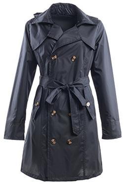 QZUnique Women's Waterproof Packable Rain Jacket Double Brea