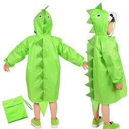 Rainbrace Kids Raincoat, Girls Boys Carton Waterproof Hood R