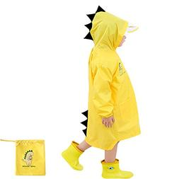 Doubmall Raincoat for Kids Rain Jacket Age 6-10 Cute Dinosau