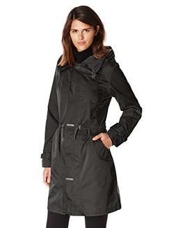 Rainforest Women's Long Packable Anorak with Hood, Black, Sm