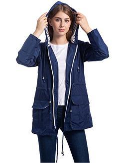 Romanstii Travel Rain Jacket Women Packable Rain Outwear wit