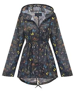 Shelikes New Ladies Hooded Daisy Raincoats Sizes XS-XXL