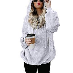 Solid Color Pocket Hoodies, Clearance! Women Hooded Sweatshi