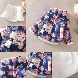 Toddler Baby Kids Girls Floral Puffer Jacket Winter Thick Wa