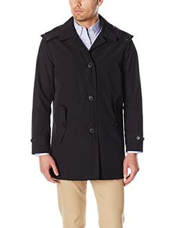 Tommy Hilfiger Men's Hooded Rain Trench Jacket, Black, S