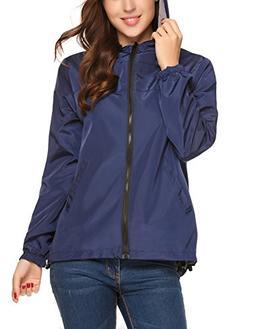UNibelle Women's Hooded Outdoor Rain Jacket Lightweight Wate