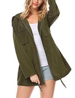 UNibelle Women's Long Rain Jacket Lightweight Waterproof Hoo