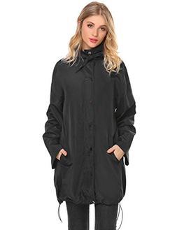 UNibelle Womens Lightweight Raincoat Hooded Waterproof Windb