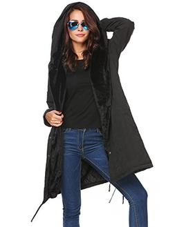 UNibelle Womens Parka Jacket Hooded Winter Faux Fur Outdoor