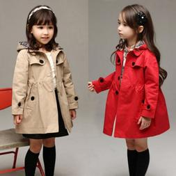 USA Girl Kids Hooded Long Trench Rain Coat Jacket Parka Flee