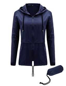 Uniboutique Womens Hooded Rain Jacket Lightweight Packable R
