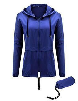 Uniboutique Womens Lightweight Rain Jacket Hooded Waterproof