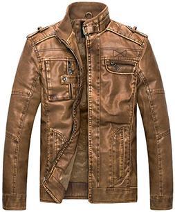 WantDo Men's Vintage Stand Collar Pu Leather Jacket, Camel U