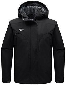 Wantdo Men's Detachable Hood Waterproof Rain Jacket Fleece W