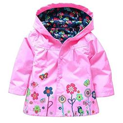 Wennikids Baby Girl Kid Waterproof Floral Hooded Coat Jacket