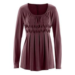 Wintialy Women Casual Basic Solid Row Pleats Ruched O-Neck L